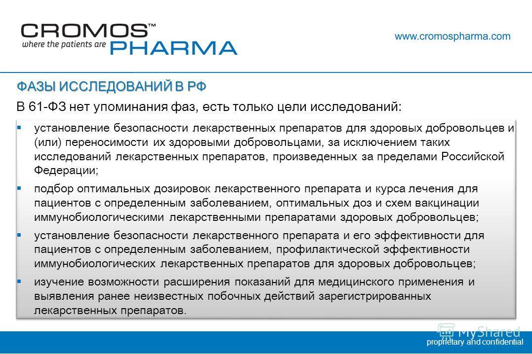 proprietary and confidential установление безопасности лекарственных препаратов для здоровых добровольцев и (или) переносимости их здоровыми добровольцами, за исключением таких исследований лекарственных препаратов, произведенных за пределами Российс