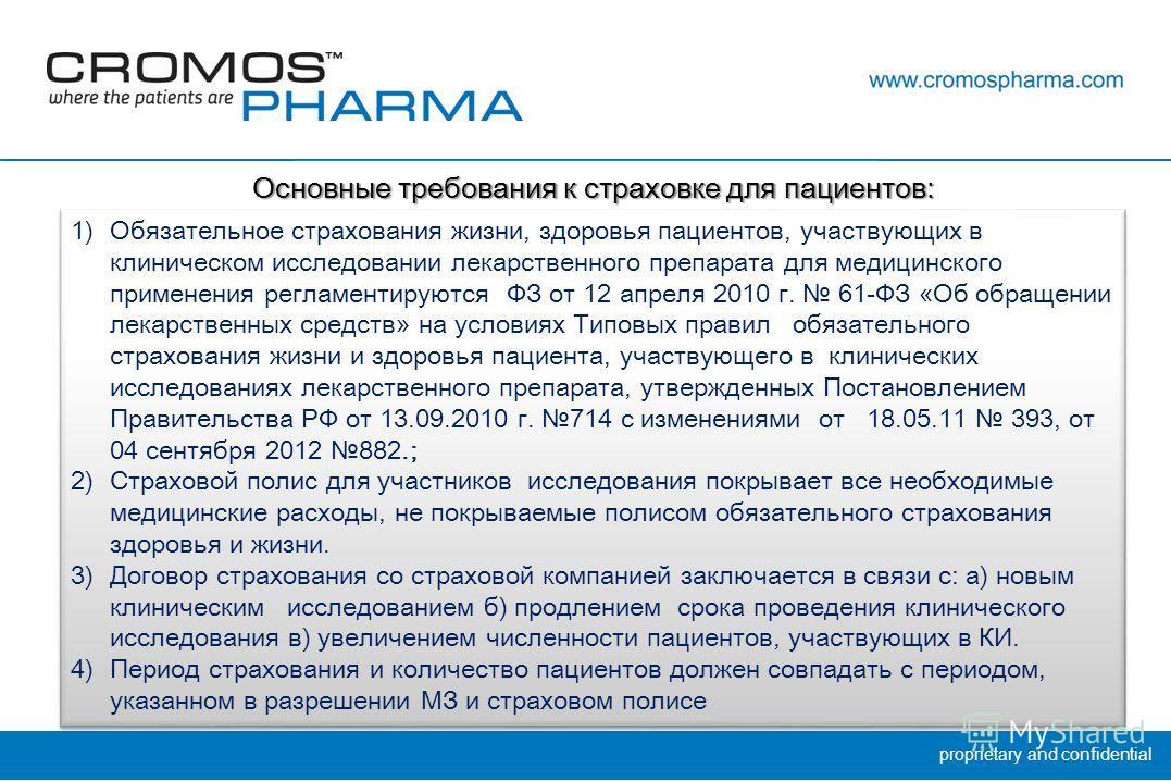 proprietary and confidential 1)Обязательное страхования жизни, здоровья пациентов, участвующих в клиническом исследовании лекарственного препарата для медицинского применения регламентируются ФЗ от 12 апреля 2010 г. 61-ФЗ «Об обращении лекарственных