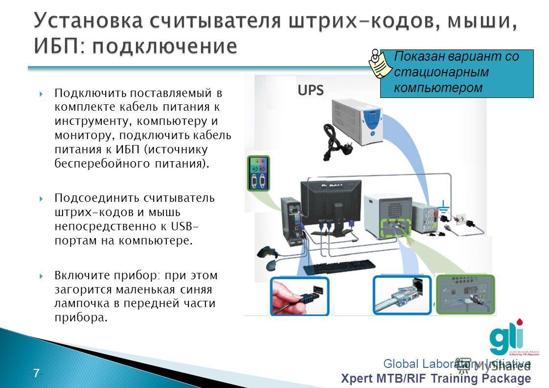 Global Laboratory Initiative Xpert MTB/RIF Training Package -6--6- Подключите один конец поставляемого Ethernet- кабеля к сетевому порту с задней стороны компьютера Подключите другой конец Ethernet-кабеля к сетевому порту на нижней части задней панел