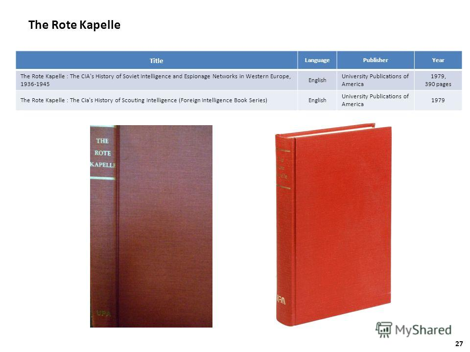 The Rote Kapelle Title LanguagePublisherYear The Rote Kapelle : The CIA's History of Soviet Intelligence and Espionage Networks in Western Europe, 1936-1945 English University Publications of America 1979, 390 pages The Rote Kapelle : The Cia's Histo