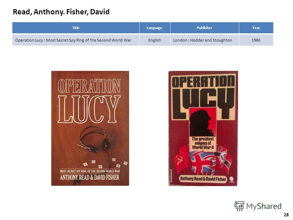 Read, Anthony. Fisher, David TitleLanguagePublisherYear Operation Lucy : Most Secret Spy Ring of the Second World WarEnglishLondon : Hodder and Stoughton1980 28
