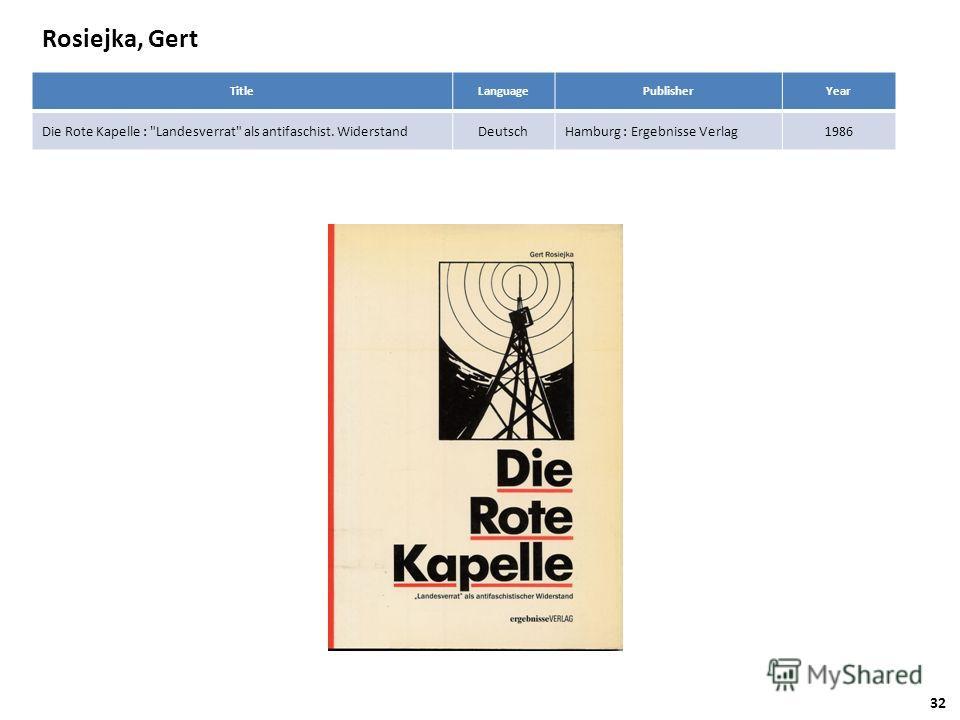 Rosiejka, Gert TitleLanguagePublisherYear Die Rote Kapelle : Landesverrat als antifaschist. WiderstandDeutschHamburg : Ergebnisse Verlag1986 32