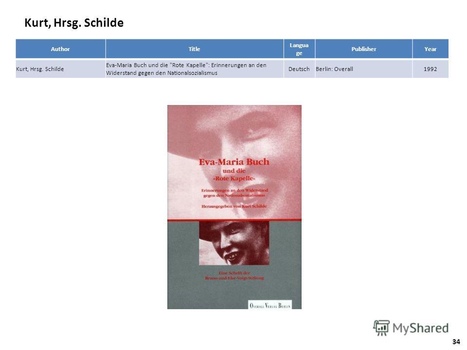 Kurt, Hrsg. Schilde AuthorTitle Langua ge PublisherYear Kurt, Hrsg. Schilde Eva-Maria Buch und die Rote Kapelle: Erinnerungen an den Widerstand gegen den Nationalsozialismus DeutschBerlin: Overall1992 34