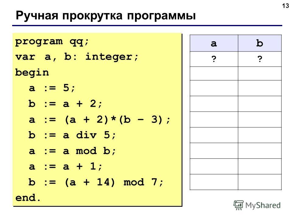 13 Ручная прокрутка программы program qq; var a, b: integer; begin a := 5; b := a + 2; a := (a + 2)*(b – 3); b := a div 5; a := a mod b; a := a + 1; b := (a + 14) mod 7; end. program qq; var a, b: integer; begin a := 5; b := a + 2; a := (a + 2)*(b –