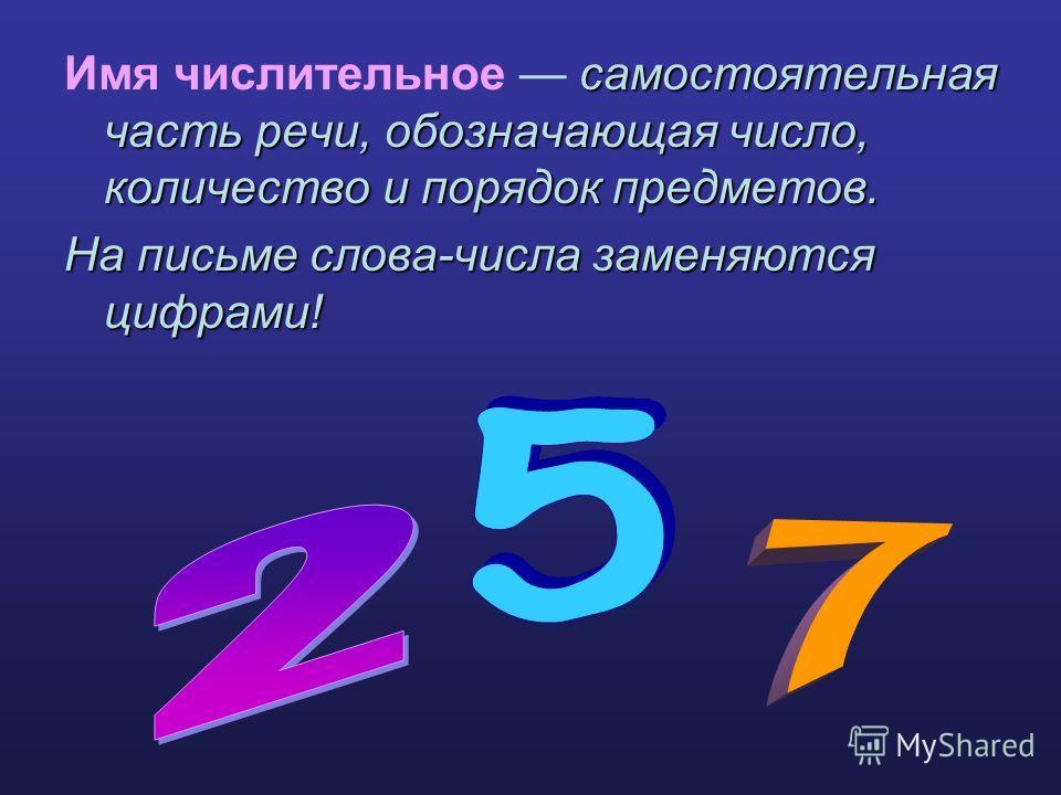самостоятельная часть речи, обозначающая число, количество и порядок предметов. Имя числительное самостоятельная часть речи, обозначающая число, количество и порядок предметов. На письме слова-числа заменяются цифрами!