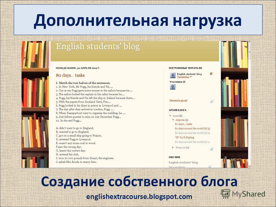 Дополнительная нагрузка Создание собственного блога englishextracourse.blogspot.com