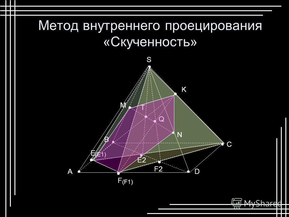 F S D B A C E K E2E2 F2F2 (F1) (E1) Q T M N Метод внутреннего проецирования «Скученность»