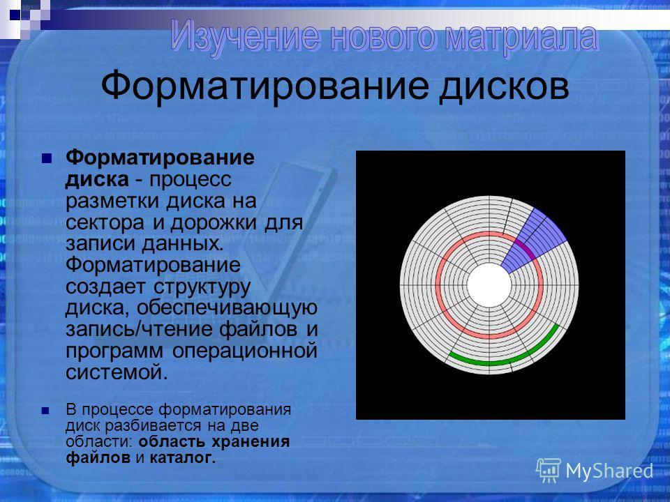 Форматирование дисков Форматирование диска - процесс разметки диска на сектора и дорожки для записи данных. Форматирование создает структуру диска, обеспечивающую запись/чтение файлов и программ операционной системой. В процессе форматирования диск р