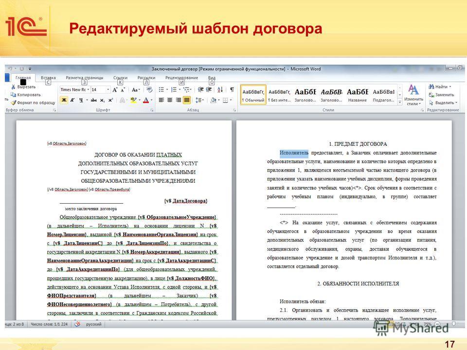 Редактируемый шаблон договора 17