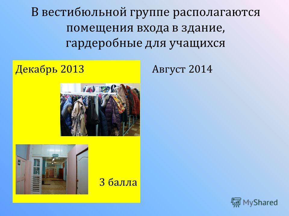 В вестибюльной группе располагаются помещения входа в здание, гардеробные для учащихся Декабрь 2013 3 балла Август 2014