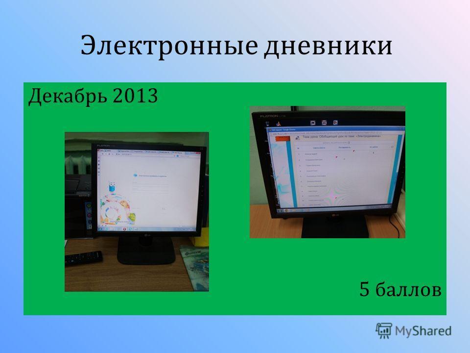 Декабрь 2013 5 баллов Электронные дневники