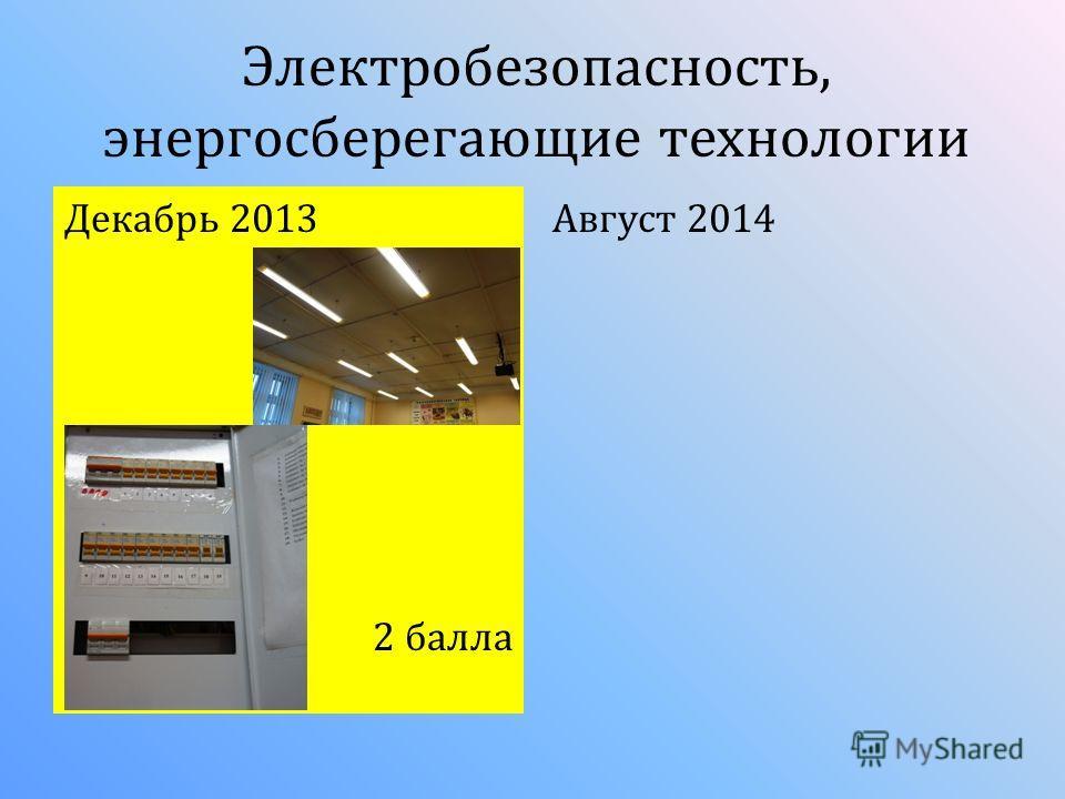 Электробезопасность, энергосберегающие технологии Декабрь 2013 2 балла Август 2014