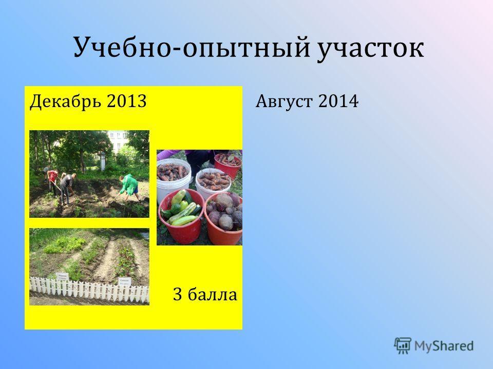 Учебно-опытный участок Декабрь 2013 3 балла Август 2014