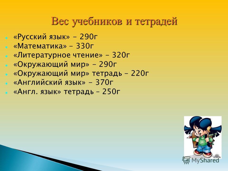 «Русский язык» - 290 г «Математика» - 330 г «Литературное чтение» - 320 г «Окружающий мир» - 290 г «Окружающий мир» тетрадь - 220 г «Английский язык» - 370 г «Англ. язык» тетрадь – 250 г