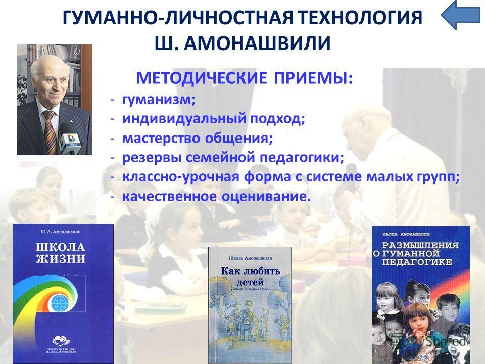 ГУМАННО-ЛИЧНОСТНАЯ ТЕХНОЛОГИЯ Ш. АМОНАШВИЛИ МЕТОДИЧЕСКИЕ ПРИЕМЫ: - гуманизм; - индивидуальный подход; - мастерство общения; - резервы семейной педагогики; - классно-урочная форма с системе малых групп; - качественное оценивание.