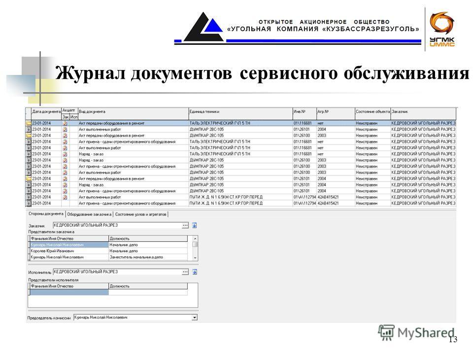 Журнал документов сервисного обслуживания 13