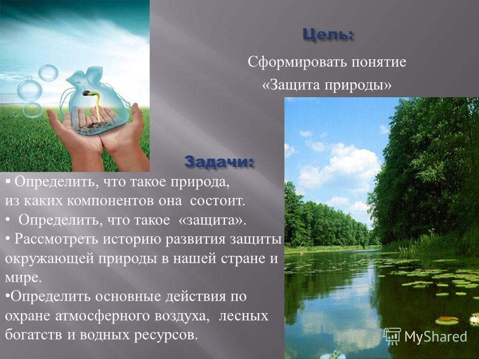 Сформировать понятие « Защита природы » Задачи: Определить, что такое природа, из каких компонентов она состоит. Определить, что такое « защита ». Рассмотреть историю развития защиты окружающей природы в нашей стране и мире. Определить основные дейст
