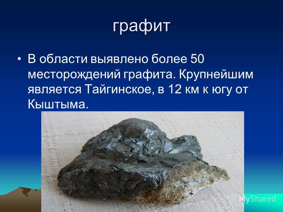 графит В области выявлено более 50 месторождений графита. Крупнейшим является Тайгинское, в 12 км к югу от Кыштыма.