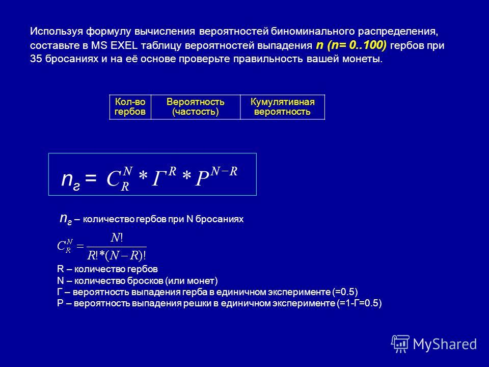 Используя формулу вычисления вероятностей биноминального распределения, составьте в MS EXEL таблицу вероятностей выпадения n (n= 0..100) гербов при 35 бросаниях и на её основе проверьте правильность вашей монеты. R – количество гербов N – количество