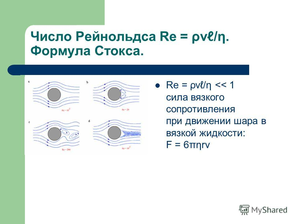Число Рейнольдса Re = ρv/η. Формула Стокса. Re = ρv/η