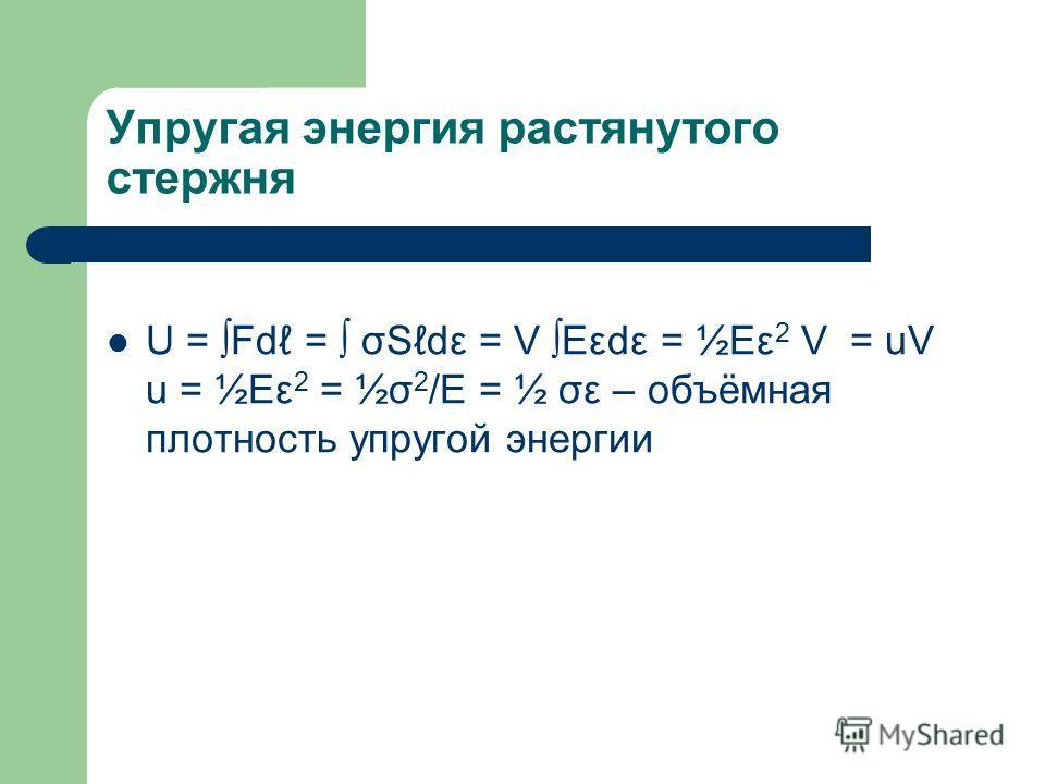 Упругая энергия растянутого стержня U = Fd = σSdε = V Eεdε = ½Eε 2 V = uV u = ½Eε 2 = ½σ 2 /E = ½ σε – объёмная плотность упругой энергии