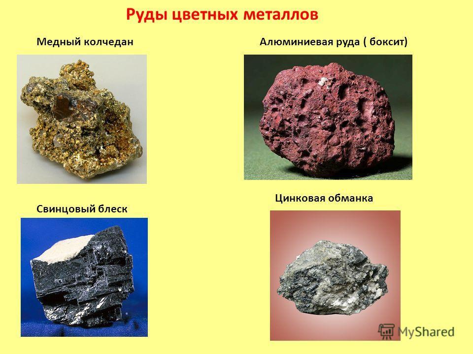 Руды цветных металлов Медный колчедан Алюминиевая руда ( боксит) Свинцовый блеск Цинковая обманка