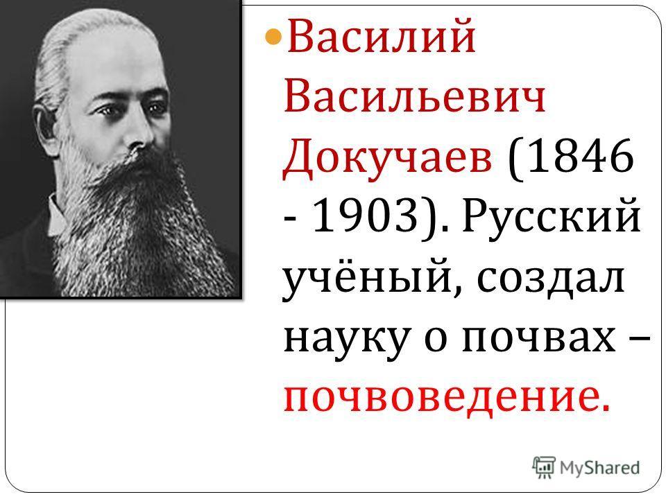 Василий Васильевич Докучаев (1846 - 1903). Русский учёный, создал науку о почвах – почвоведение.