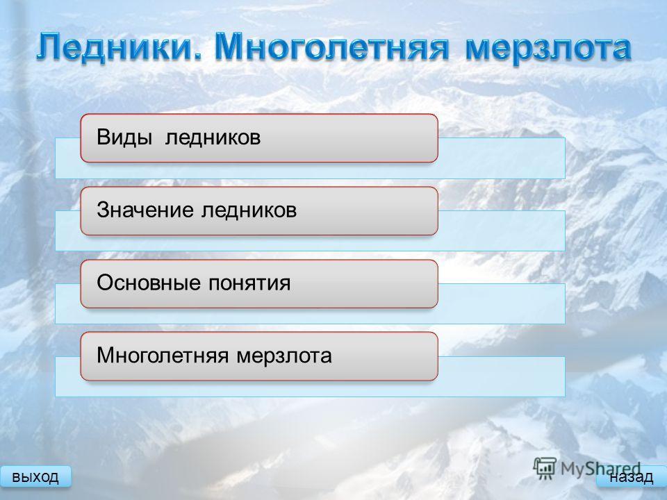 Значение ледниковМноголетняя мерзлота выходназад