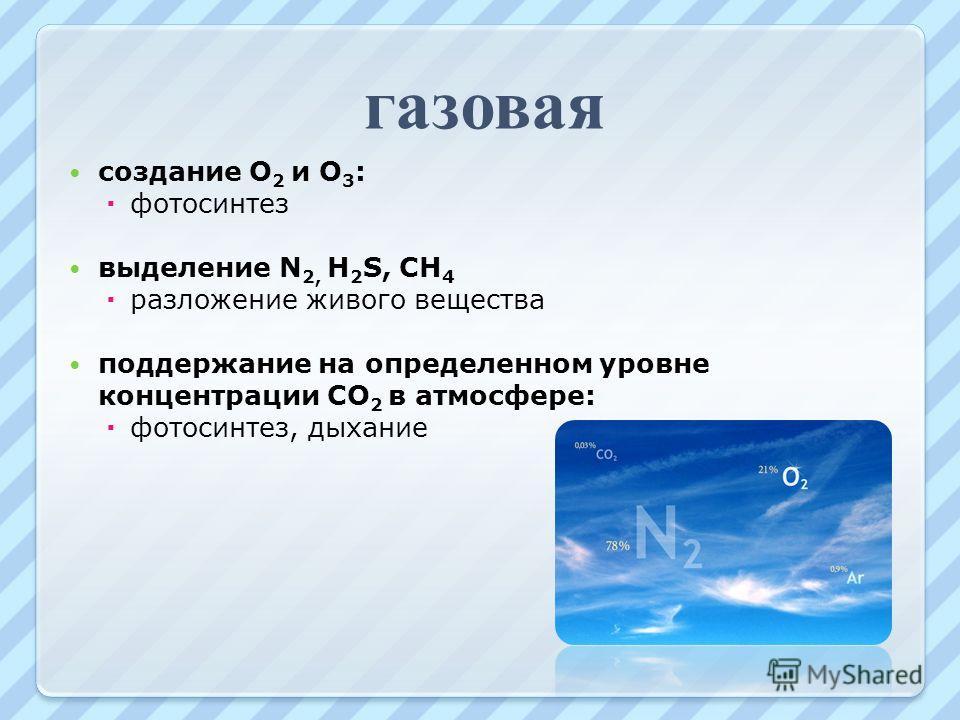 газовая создание О 2 и О 3 : фотосинтез выделение N 2, H 2 S, CH 4 разложение живого вещества поддержание на определенном уровне концентрации CO 2 в атмосфере: фотосинтез, дыхание