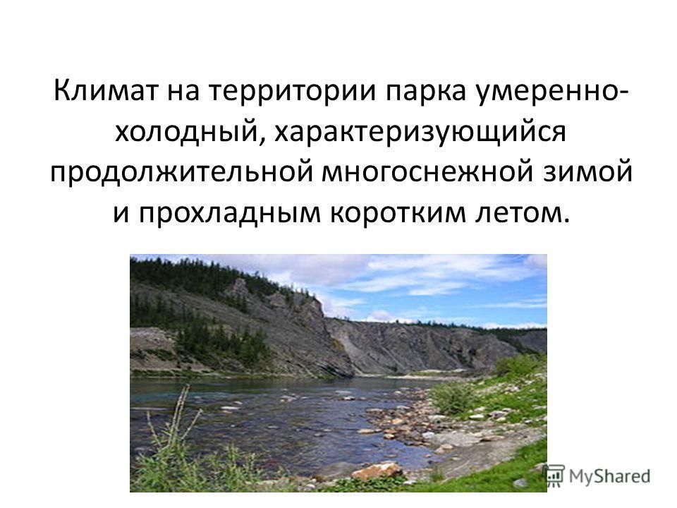 Климат на территории парка умеренно- холодный, характеризующийся продолжительной многоснежной зимой и прохладным коротким летом.