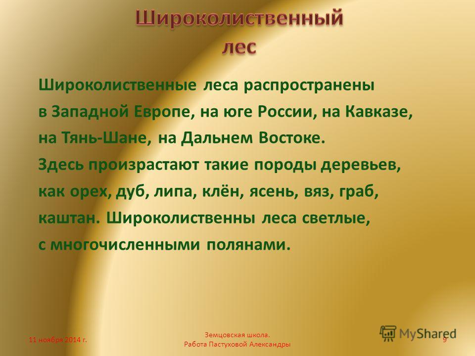 Широколиственные леса распространены в Западной Европе, на юге России, на Кавказе, на Тянь-Шане, на Дальнем Востоке. Здесь произрастают такие породы деревьев, как орех, дуб, липа, клён, ясень, вяз, граб, каштан. Широколиственны леса светлые, с многоч
