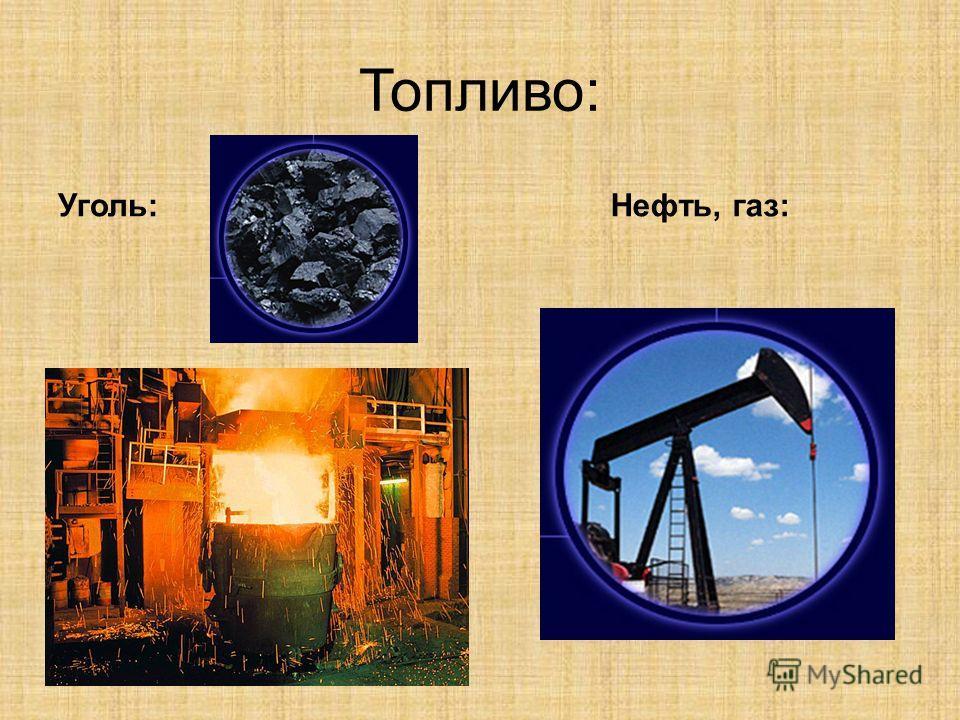 Топливо: Уголь:Нефть, газ: