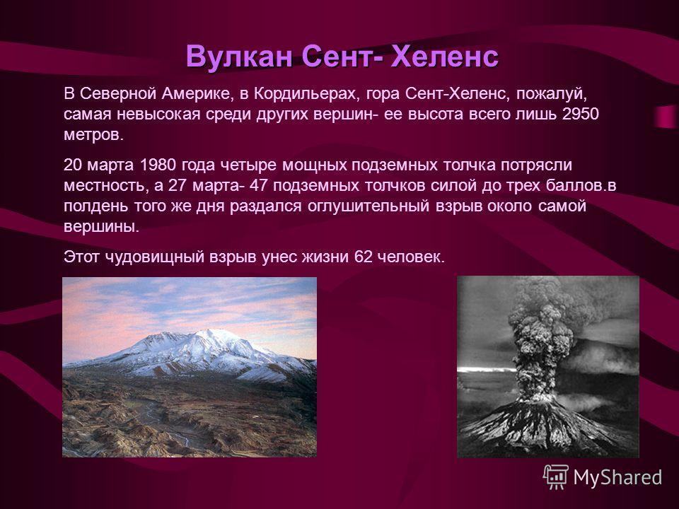 Вулкан Сент- Хеленс В Северной Америке, в Кордильерах, гора Сент-Хеленс, пожалуй, самая невысокая среди других вершин- ее высота всего лишь 2950 метров. 20 марта 1980 года четыре мощных подземных толчка потрясли местность, а 27 марта- 47 подземных то