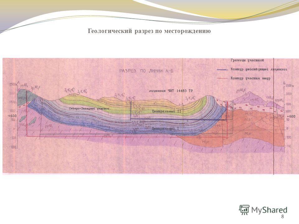 Геологический разрез по месторождению 8