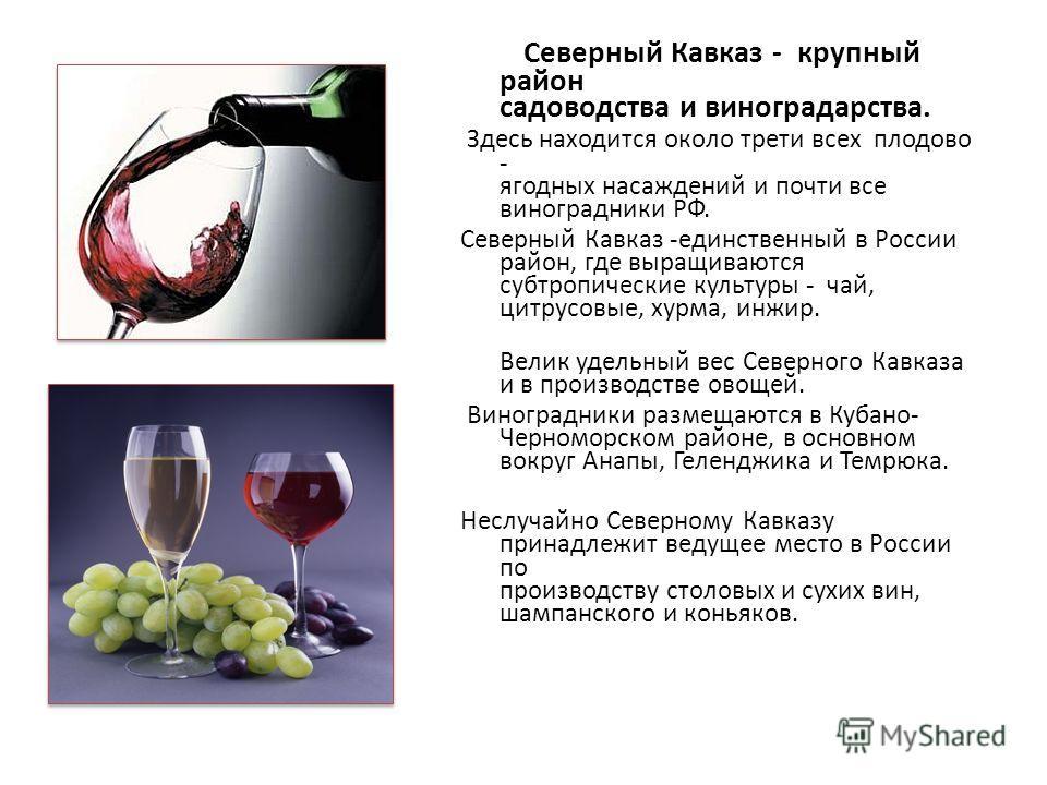 Северный Кавказ - крупный район садоводства и виноградарства. Здесь находится около трети всех плодово - ягодных насаждений и почти все виноградники РФ. Северный Кавказ -единственный в России район, где выращиваются субтропические культуры - чай, цит
