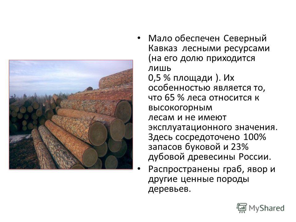 Мало обеспечен Северный Кавказ лесными ресурсами (на его долю приходится лишь 0,5 % площади ). Их особенностью является то, что 65 % леса относится к высокогорным лесам и не имеют эксплуатационного значения. Здесь сосредоточено 100% запасов буковой и