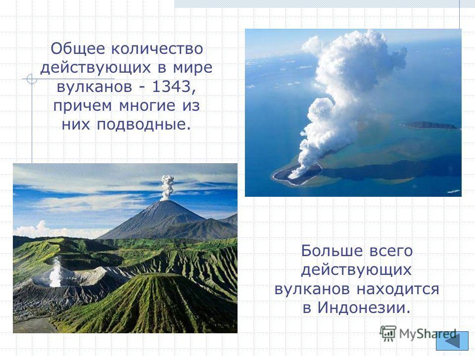 Общее количество действующих в мире вулканов - 1343, причем многие из них подводные. Больше всего действующих вулканов находится в Индонезии.