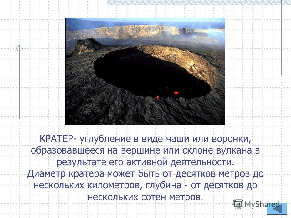 КРАТЕР- углубление в виде чаши или воронки, образовавшееся на вершине или склоне вулкана в результате его активной деятельности. Диаметр кратера может быть от десятков метров до нескольких километров, глубина - от десятков до нескольких сотен метров.