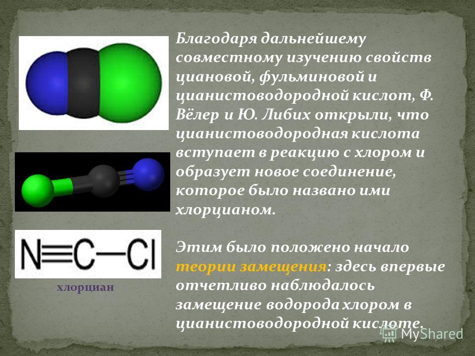 Благодаря дальнейшему совместному изучению свойств циановой, фульминовой и цианистоводородной кислот, Ф. Вёлер и Ю. Либих открыли, что цианистоводородная кислота вступает в реакцию с хлором и образует новое соединение, которое было названо ими хлорци