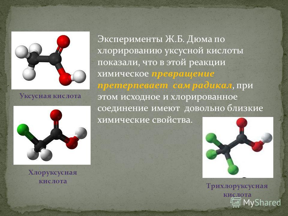 Эксперименты Ж.Б. Дюма по хлорированию уксусной кислоты показали, что в этой реакции химическое превращение претерпевает сам радикал, при этом исходное и хлорированное соединение имеют довольно близкие химические свойства. Уксусная кислота Хлоруксусн