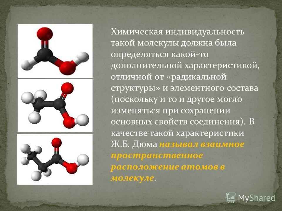 Химическая индивидуальность такой молекулы должна была определяться какой-то дополнительной характеристикой, отличной от «радикальной структуры» и элементного состава (поскольку и то и другое могло изменяться при сохранении основных свойств соединени