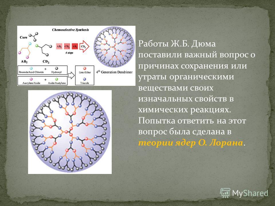 Работы Ж.Б. Дюма поставили важный вопрос о причинах сохранения или утраты органическими веществами своих изначальных свойств в химических реакциях. Попытка ответить на этот вопрос была сделана в теории ядер О. Лорана.