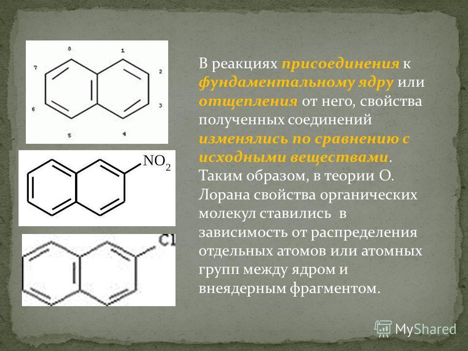 В реакциях присоединения к фундаментальному ядру или отщепления от него, свойства полученных соединений изменялись по сравнению с исходными веществами. Таким образом, в теории О. Лорана свойства органических молекул ставились в зависимость от распред