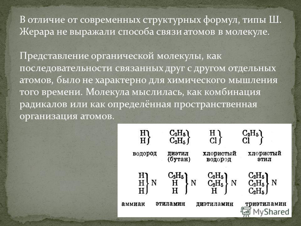 В отличие от современных структурных формул, типы Ш. Жерара не выражали способа связи атомов в молекуле. Представление органической молекулы, как последовательности связанных друг с другом отдельных атомов, было не характерно для химического мышления