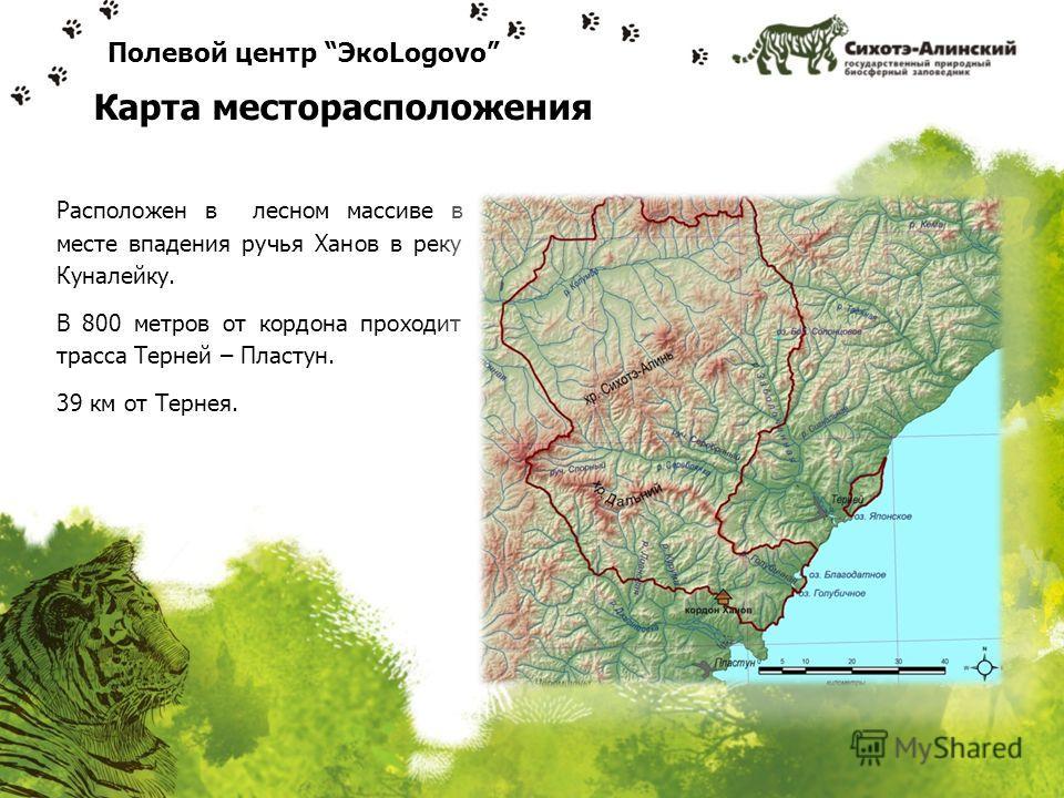 Расположен в лесном массиве в месте впадения ручья Ханов в реку Куналейку. В 800 метров от кордона проходит трасса Терней – Пластун. 39 км от Тернея. Полевой центр ЭкоLogovo Карта месторасположения