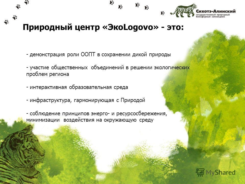 Природный центр «ЭкоLogovo» - это: - демонстрация роли ООПТ в сохранении дикой природы - участие общественных объединений в решении экологических проблем региона - интерактивная образовательная среда - инфраструктура, гармонирующая с Природой - соблю