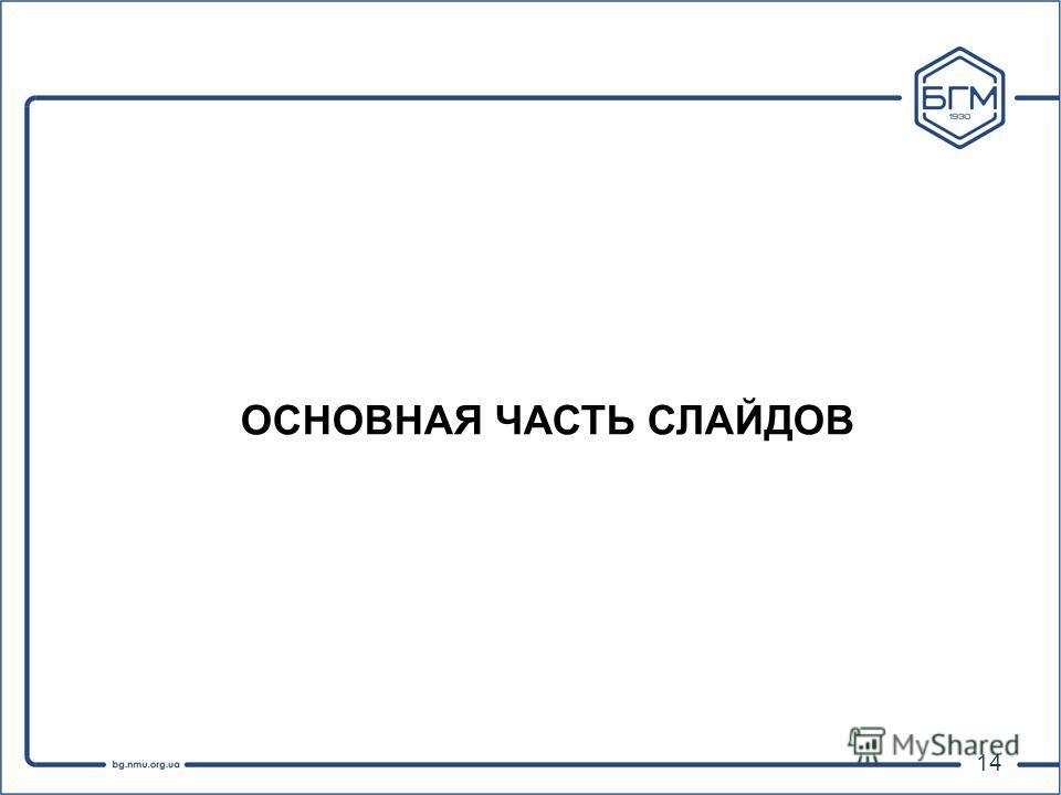Презентация на тему Подготовка презентации дипломной работы  14 14 ОСНОВНАЯ ЧАСТЬ СЛАЙДОВ