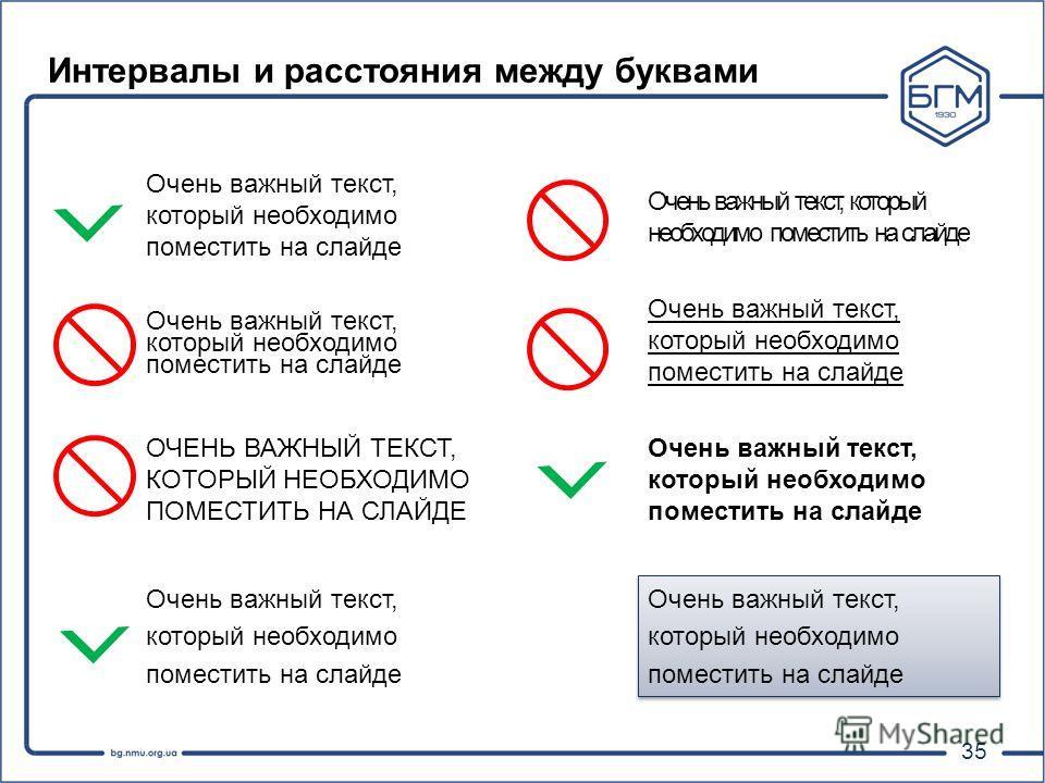 35 Интервалы и расстояния между буквами Очень важный текст, который необходимо поместить на слайде ОЧЕНЬ ВАЖНЫЙ ТЕКСТ, КОТОРЫЙ НЕОБХОДИМО ПОМЕСТИТЬ НА СЛАЙДЕ Очень важный текст, который необходимо поместить на слайде