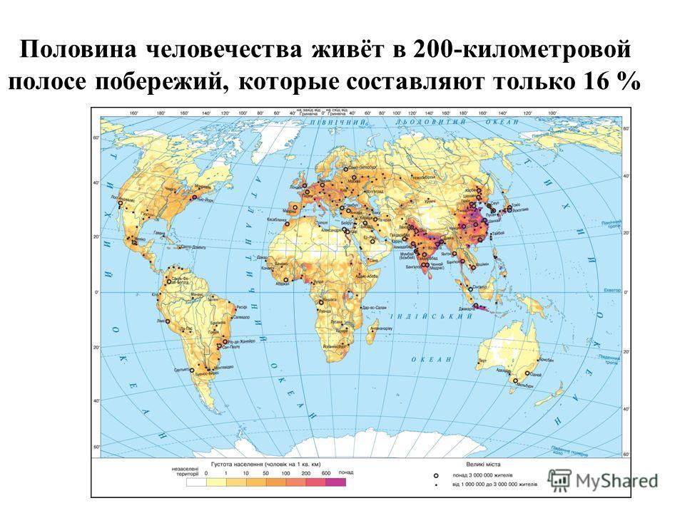Половина человечества живёт в 200-километровой полосе побережий, которые составляют только 16 %
