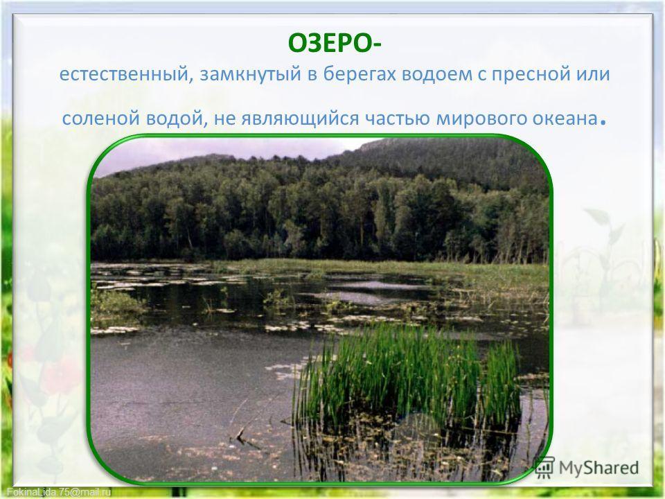 FokinaLida.75@mail.ru ОЗЕРО- естественный, замкнутый в берегах водоем с пресной или соленой водой, не являющийся частью мирового океана.